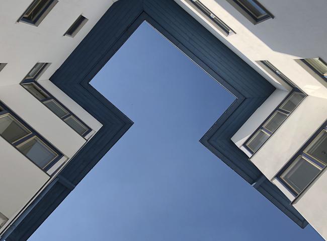 Weisse Stadt in Berlin, Detail Dach Salvisberg 1927, 20-er Jahre Wohnungsbau, bauhaus100
