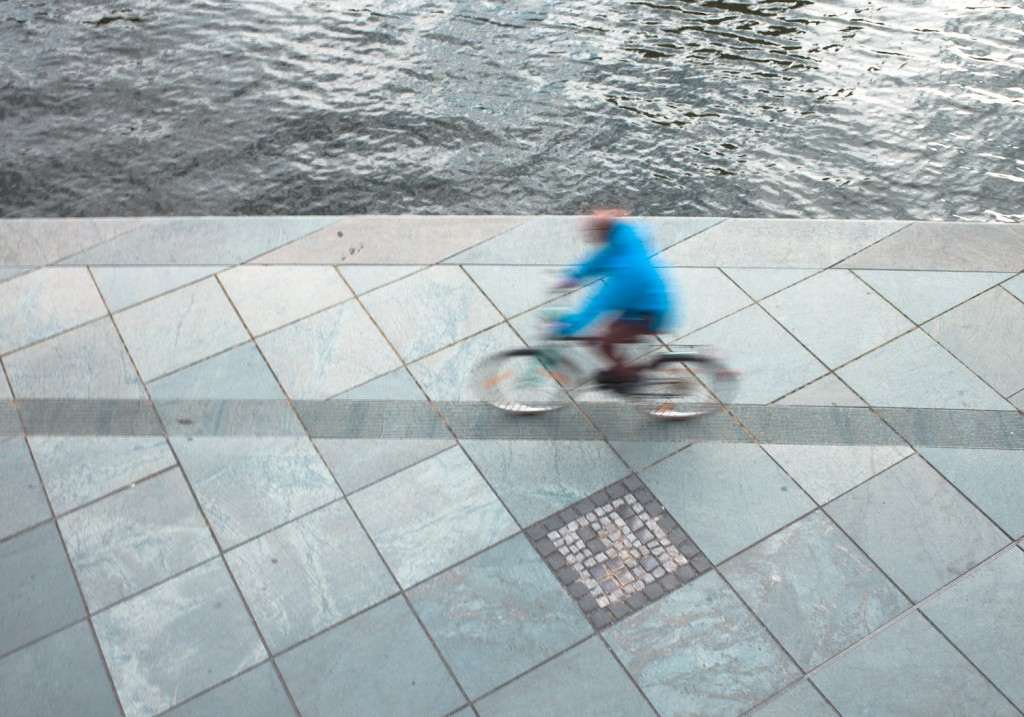 Bicycle driver at the river